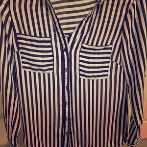 My Michelle black and white striped button up top